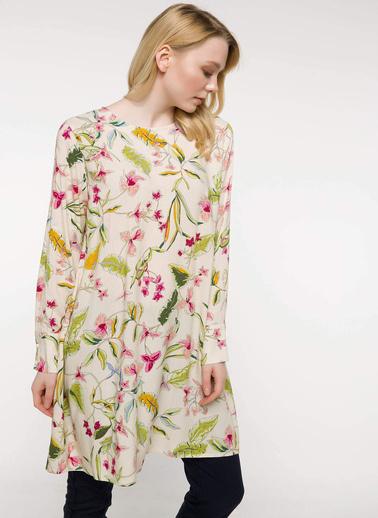 DeFacto Floral Desenli Tunik Ekru